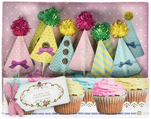 24 déco gâteaux Chapeaux + Pompons - 6 designs