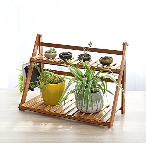 Bamboo Folding Flower Rack Multilayer Mini Desktop Balconies Stand Bonsai Pot de fleurs en bois Shelf Display (taille : 49cm*23cm*36cm)