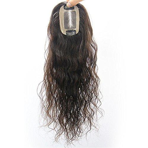 Remeehi-Toupet, flauschiges, gelocktes Clip-in-Echthaar, Topper, Haarteil für Frauen, für dünner werdendes Haar