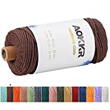 Macrame Corda 3mm x 100m, AOKKR Filo Macrame Natural Cotton 4 Strand Twisted, Spago Colorato per Home Decoration Items, Wall Hanging Vaso Arazzo Festa Natale, Marrone Scuro / Moka