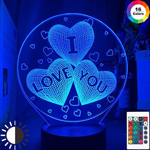 Ti amo tre cuori Unico negozio per bambini Idee Articolo Luce notturna Lampada da tavolo a LED 3D regalo di compleanno per bambini decorazione della camera da comodino