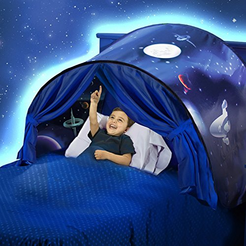 Favonir Dream Tent for Kids - Bed Tents for Boys and Girls - Pop Up Toddler Bed Tent - Unisex Children's Bed Reading Privacy Canopy w/ Storage Bag - Space Adventure