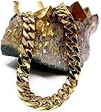 Collana a catena cubana da uomo in oro 14 ct, larghezza: 9 mm, taglio: a diamante, con chiusura solida e spessa e 14ct metallo con base placcato oro, cod. NA