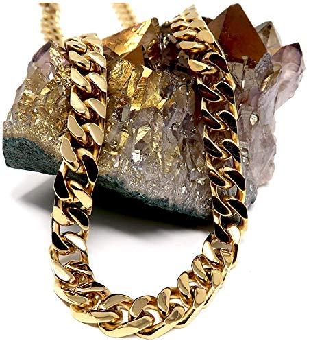Collar de cadena de eslabones cubanos de oro de 14 quilates para hombre, 9 mm, 14 quilates, corte de diamante pesado con cierre grueso sólido