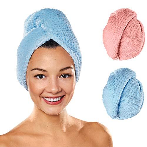 Maraboha Haarturban (2Stück) mit Knopf aus sanfter Mikrofaser. Ideales Turban Handtuch auch für Dicke und Lange Haare