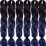 LDMY Jumbo Braiding Hair Extensions, Ombre Navy Blue Premium Jumbo Braids, 24 Inch 6Bundles/pack 100g/bundle Synthetic 2 Tone Jumbo Braid Wig Kanekalon(10, 6 bundles)