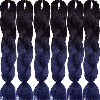 LDMY Jumbo Braiding Hair Extensions Ombre Navy Blue Premium Jumbo Braids 24 Inch 6Bundles/pack 100g/bundle Synthetic 2 Tone Jumbo Braid Wig Kanekalon 10 6 bundles