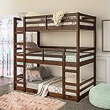 Walker Edison Alexander Classic Solid Wood Jr Twin over Twin Triple Bunk Bed, Twin over Twin, Walnut