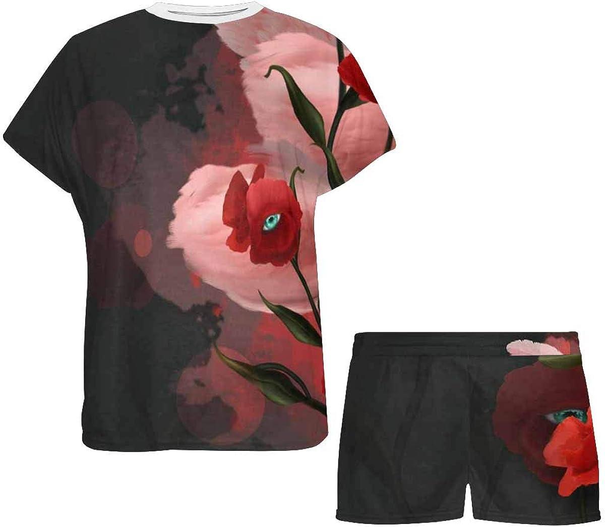 INTERESTPRINT Flamingos and Poppies Women's Pajama Sets Short Sleeve Shorts - Pajamas for Women
