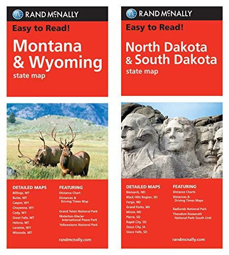 Rand McNally State Maps: Montana/Wyoming and North Dakota/South Dakota (2 Maps)