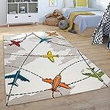 Alfombra Infantil De Juegos Pelo Corto Habitación Infantil, Aviones, En Beige, tamaño:80x150 cm