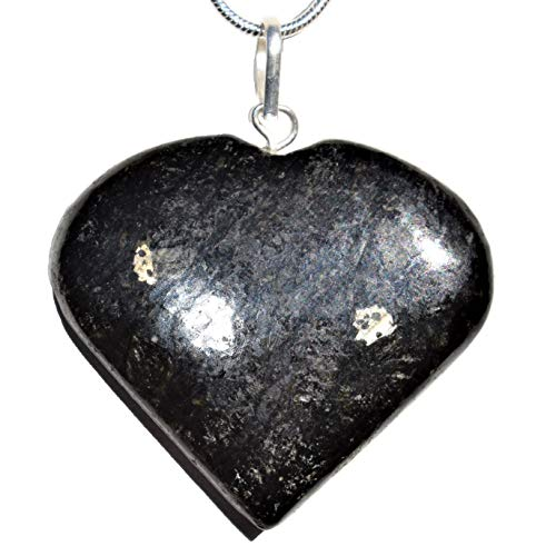 """Zenergy Gems Charged Starburst Flash Nuummite Heart Crystal Perfect Pendant+ 20"""" Silver Chain + Baby Selenite Puffy Heart SORCER"""