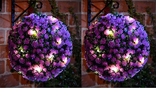 MTS 20 LED Solar Powered Rose Topiary Ball Boxwood Hanging Garden Light Ornament (2, Purple Topiary)
