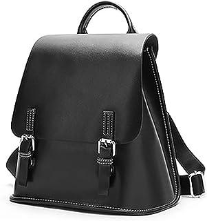 Heshe حقيبة ظهر جلدية نسائية كاجوال Daypack نمط حقائب الظهر رفرف للسيدات