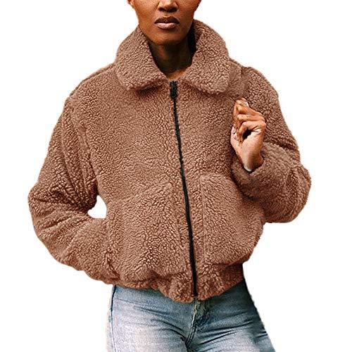 MEIbax Damen einfarbig Revers Faux Wolle Mantel Teddy-Fleece Jacke Übergangsjacke Warm Lammfell Plüsch Cardigan Winterjacke Parka
