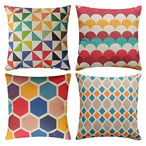 Set di 4 Cuscini Divano colorato Geometrico Cotone Biancheria Decorativo Copricuscini Divano 45x45cm