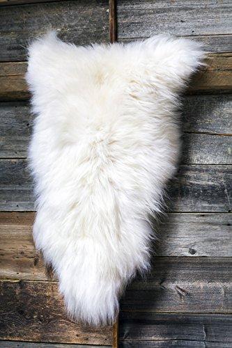 Estro | Echt ISLÄNDISCHER Schaffell Lammfell Teppich | Glänzend und luxuriös | Farbvielfalt ESI (Weiß, 110 cm)