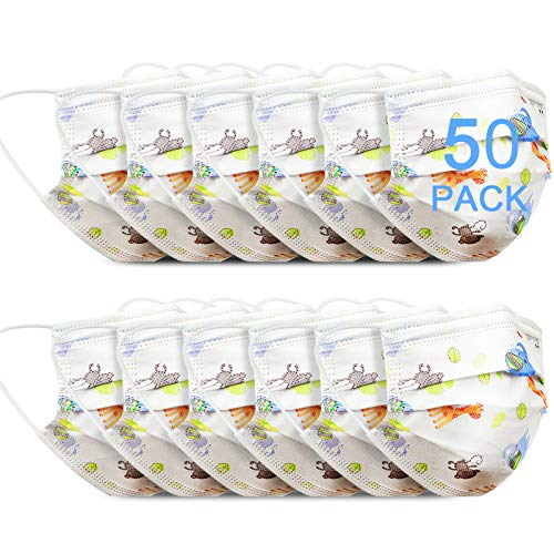 HMIAO Kids Disposable Mask, 3 Ply Non-Woven Breathable Cartoon Animal Face Covers for Children(50PCS, Disposable-A)