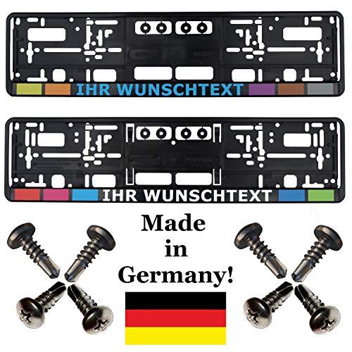 2 Kennzeichenhalter mit Wunschtext Werbung bedruckt (keine Folie) mit Schrauben (!!! Nicht für Österreich geeignet !!!)