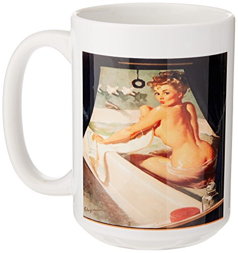 3dRose mug_179574_2 Image of Famous Elvgren Pinup in Bath Tub Painting Ceramic Mug, 15-Ounce
