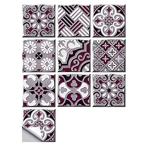 Pegatinas para azulejos de estilo chino, impermeables, autoadhesivas, retro, cuadradas, para decoración de muebles de cocina, baño, 10 cm x 10 cm x 10 unidades