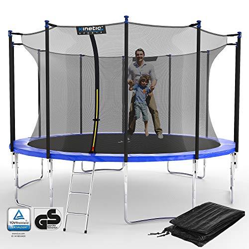 Kinetic Sports Outdoor Gartentrampolin Ø 396 cm, TPLS13, inklusive Sprungtuch aus USA PP-Mesh +Sicherheitsnetz +Rand- u. Regen-Abdeckung +Leiter, bis 160kg, GS-geprüft,UV-beständig, BLAU