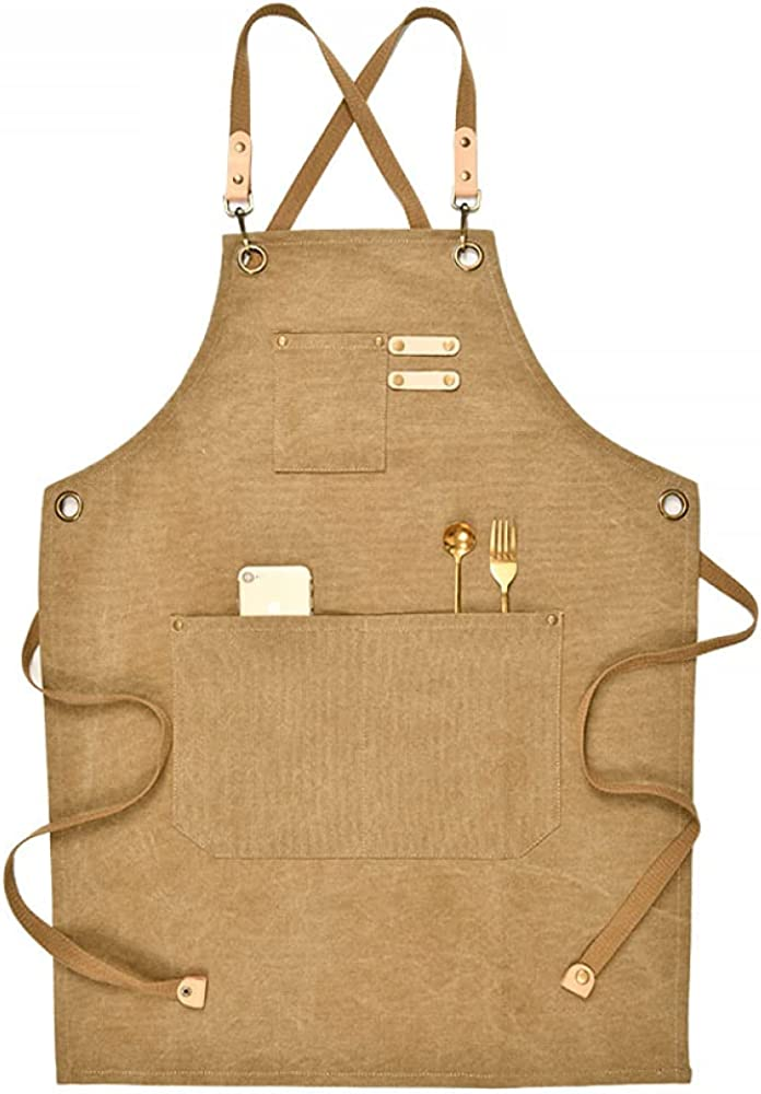 SNSN Super sale period limited canvas bib chef apron over painting waiter wooden craftsman 40% OFF Cheap Sale