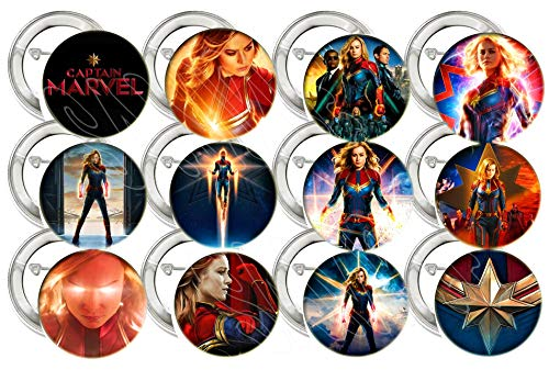 Captain Marvel AVENGERS Buttons Video Game Party Favors Supplies Decorations Collectible Metal Pinback Buttons Pins…