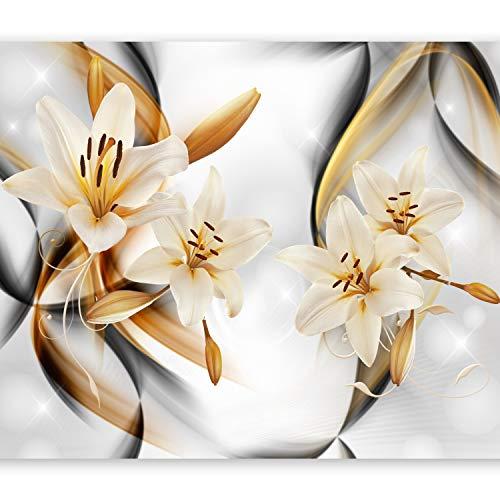 murando Fototapete Blumen Lilien 350x256 cm Vlies Tapeten Wandtapete XXL Moderne Wanddeko Design Wand Dekoration Wohnzimmer Schlafzimmer Büro Flur orange grau weiß b-A-0267-a-b