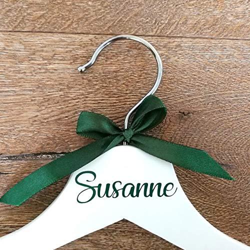 Hochzeitstag Kleiderbügel in Weiß und Waldgrün für Braut, Brautjungfern und andere Brautparty