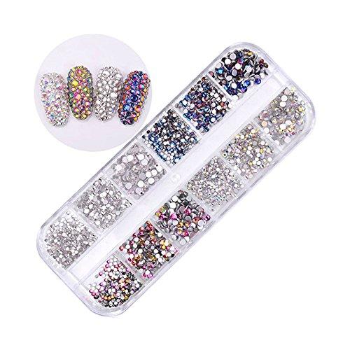 Pure Vie 1440 piezas 3D Nail Glitter Pedrería para Uñas Decoración de Arte de Uñas Diamantes Brillantes Preciosas de Acrílico #4