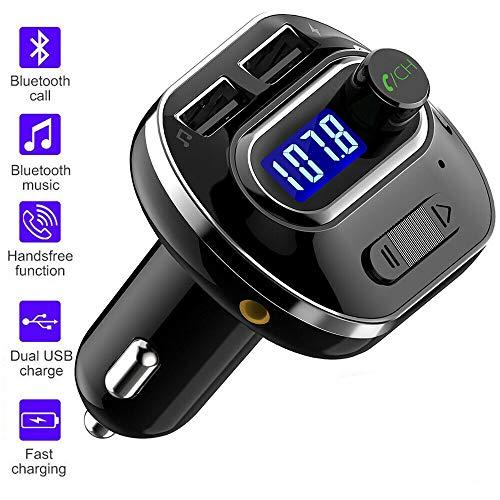 CICMOD FM Transmisor para Coche BT 4.1, Inalámbrico Reproductor MP3 Mechero Coche Adaptador Receptor con Dual USB Soporte Tarjetas SD + U Disk