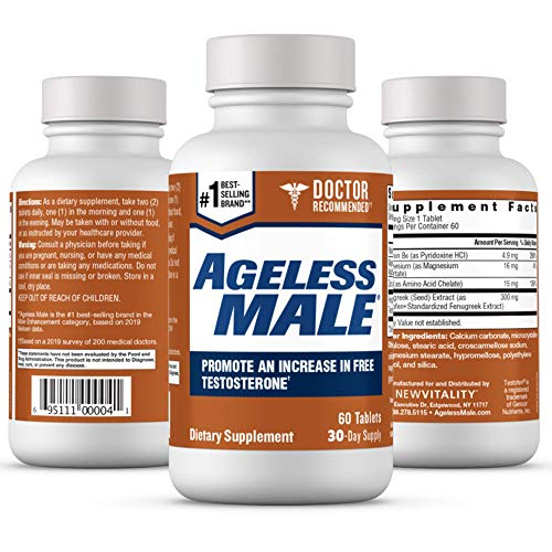 Ageless Male Free Testosterone Booster for Men – Doctor Recommended. Promote Lean Muscle Mass, Muscle Endurance, Libido and Energy. Safe & Effective, No Caffeine (60 Tablets, 1-Bottle)