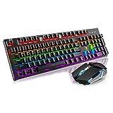 Qyaml Tastatur Maus Set Kabellos, Led-Hintergrundbeleuchtung Mit 104 Tasten, Gemeinsam Genutzter Empfänger, Kompatibel Mit Windows 2000 / XP /7/8/10/ Vista