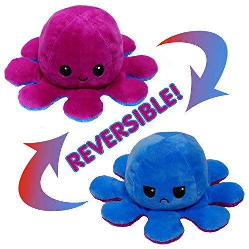 Polpo reversibile, giocattoli morbidi a doppia faccia, polpo farcito, mini polpo carino, bambola di peluche, regali creativi per bambini / ragazze e ragazzi / amici (Viola + blu)
