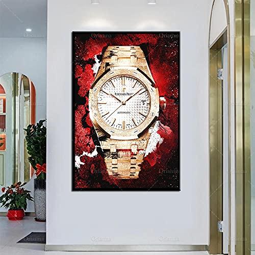 HUANGXLL Póster de Reloj Dorado, Arte de Pared imprimible, Arte de Pared Inspirador, Pintura en Lienzo de habitación Modular, decoración del hogar, 50x70 cm, sin Marco