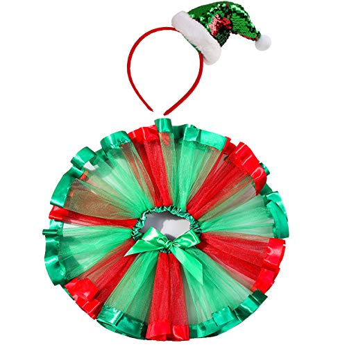 traderplus Girls Christmas Tutu Red Skirt and Xmas Tree Headband Set (Christmas, Large / 7-9 Years)