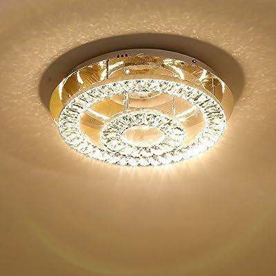 Saint Mossi Modern K9 Crystal LED 2 Ring Chandelier Lighting Flush Mount Ceiling Light Fixture Lamp Dining Room Bathroom Bedroom Livingroom Height 5 x Width 17