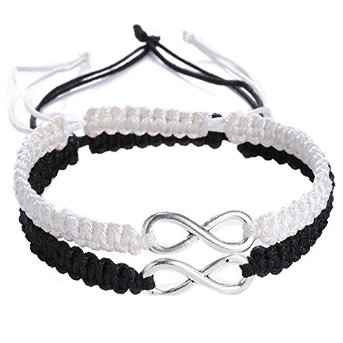 Rullar 2Pcs Women Men Boys Girls Handmade Infinity Forever Lovers Friendship Braided Cuff Link Strentch Couple Bracelets Black White