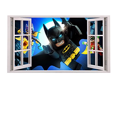 3D Fenster Kinder-Lieblings-Charaktere Wandtattoo, Vinyl, Motiv: Wandkunst, Customise4UTM (Batman & Robin Window)