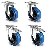 Voluker lote de 4 100mm Ruedas giratorias,Ruedas para Muebles,Maxi Capacidad 600kg(2 con Freno,2 sin Freno), con placa de montaje y rodamiento de bolas,Azul