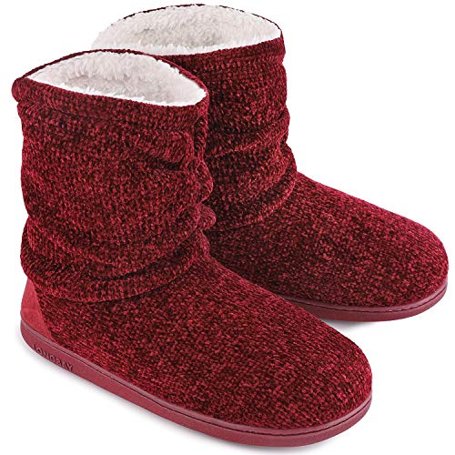 Ladies Bootie Slippers Memory Foam Fur Collar Bootee Plush Lined Women Boots with Non Skid Indoor Outdoor Sole, 9/10 UK, Burgundy