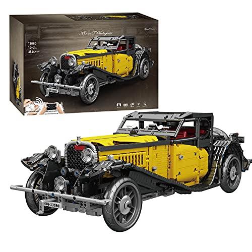 HEID Technik Oldtimer Auto Bausteine für Bugatti 50T, Mould King 13080 Statische Version Technik Vintage Oldtimer Modell Kompatibel mit Lego technic - 3564 Telie