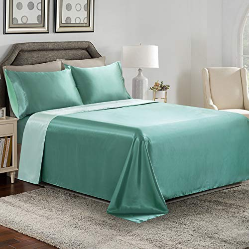 Cobedzy Satin Sheets Queen, Sage & Emerald Green Double Color Satin Sheets Soft Silk Bed Sheets Set with 1 Deep Pocket Satin Fitted Sheet,1 Satin Flat Sheet, 2 Satin Pillowcases