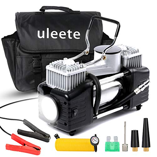 Uleete Tire Inflator for Car, DC 12V Portable Air Compressor with Gauge, 150PSI Heavy Duty Double Cylinders Pump for Truck, Air Pump with LED Light, Metal Tire Pump for Car Tires and Other Inflatables