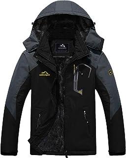 TACVASEN Men's Waterproof Fleece Mountain Jacket Windproof Warm Ski Jacket Multi-Pockets
