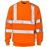Photo de Hi Viz Ras De Cou Sécurité Pull Haut Hommes Visibilité Vêtement De Travail Sécurité Tricot - ORANGE avec bandes réfléchissantes - Rail GO/RT, XXL