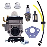 FitBest New Carburetor with Fuel Line Kit Spark Plug for Husqvarna 145BT Kawasaki TE45DX Walbro WYK-74 WYK-74-1