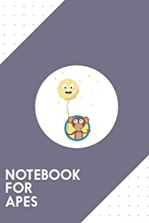Notebook for Apes: Dotted Journal with Monkey with friendly moon on a rope Design - Cool Gift for a friend or family who l...