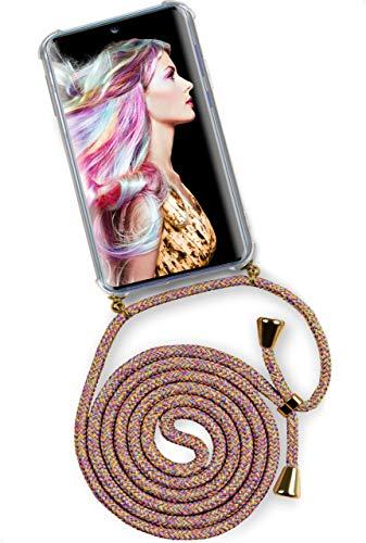 ONEFLOW Twist Hülle kompatibel mit Samsung Galaxy S20 / S20 5G - Handykette, Handyhülle mit Band zum Umhängen, Hülle mit Kette abnehmbar, Rainbow
